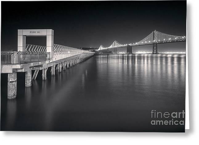 San Francisco Bay Bridge and Pier 14 Greeting Card by Colin and Linda McKie