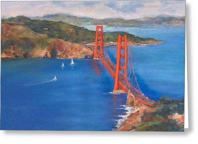 San Francisco Bay Pastels Greeting Cards - San Francisco Bay Bridge Greeting Card by Hilda Vandergriff