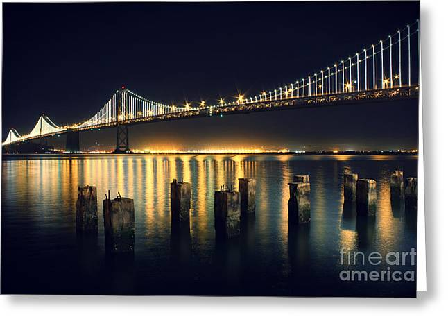 Bridge Greeting Cards - San Francisco Bay Bridge Illuminated Greeting Card by Jennifer Ramirez