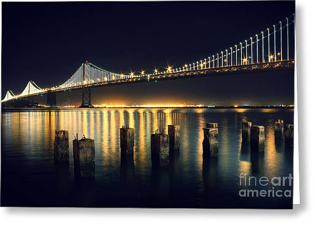 Night Time Greeting Cards - San Francisco Bay Bridge Illuminated Greeting Card by Jennifer Ramirez