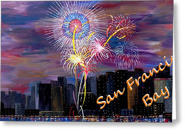 4th July Paintings Greeting Cards - San Francisco Bay City Celebration Greeting Card by Mark Moore