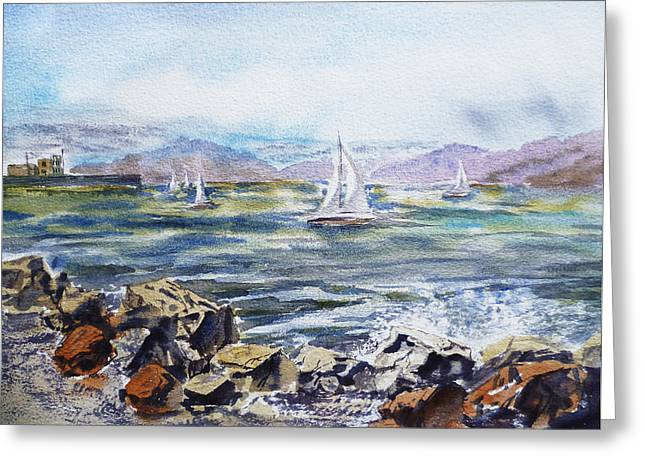 Boats In Water Greeting Cards - San Francisco Bay from Richmond Shore Line Greeting Card by Irina Sztukowski