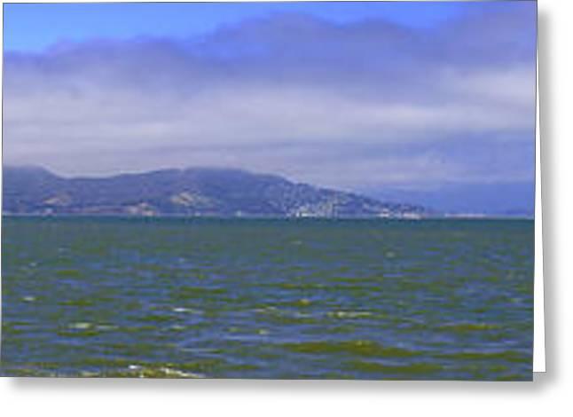 Famous Bridge Greeting Cards - San Francisco Bay Golden Gate Bridge    Alcatraz Panorama Greeting Card by LeeAnn McLaneGoetz McLaneGoetzStudioLLCcom
