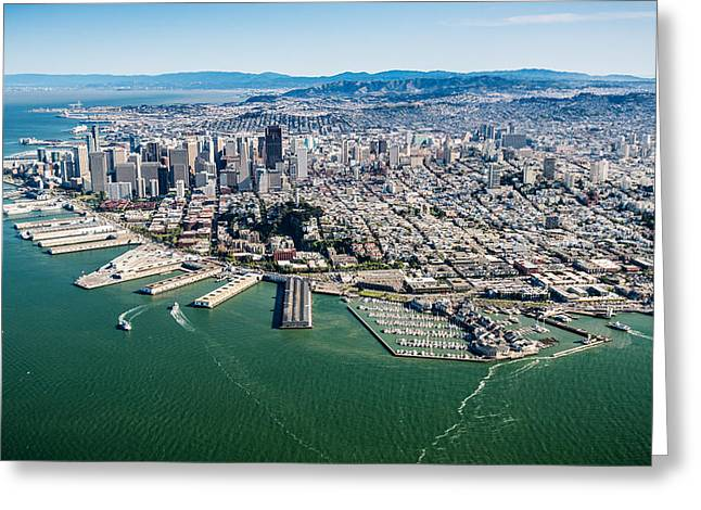Downtown San Francisco Photographs Greeting Cards - San Francisco Bay Piers Aloft Greeting Card by Steve Gadomski