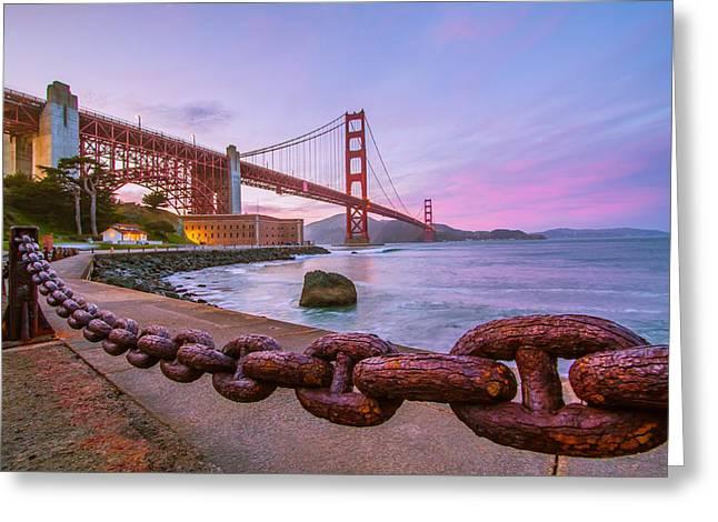 Dave Gordon Greeting Cards - San Francisco Bay Rusted at Sunset Photograph Greeting Card by Dave Gordon
