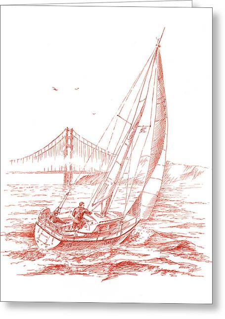 Famous Bridge Drawings Greeting Cards - San Francisco Bay Sailing To Golden Gate Bridge Greeting Card by Irina Sztukowski