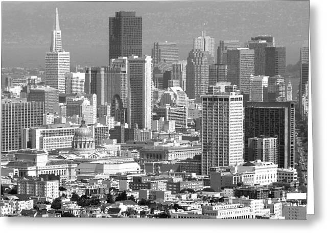 Downtown San Francisco Greeting Cards - San Francisco Black and White Greeting Card by Jeff Lowe