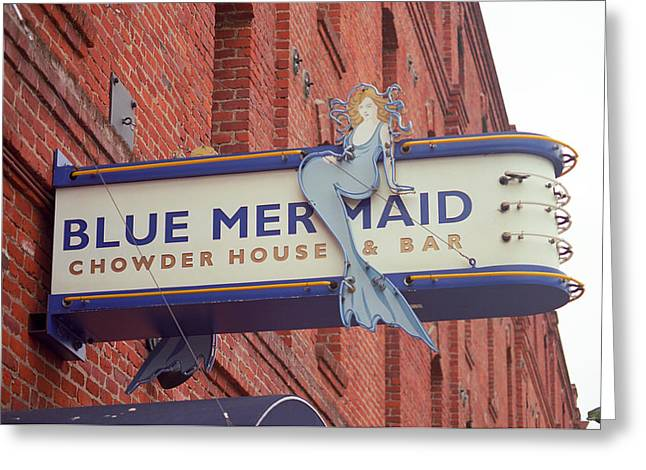 Mermaid Poster Greeting Cards - San Francisco Blue Memaid Greeting Card by Frank Romeo