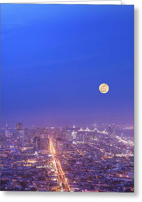 Downtown San Francisco Pyrography Greeting Cards - San Francisco downtown night view. Greeting Card by Jason  Choy