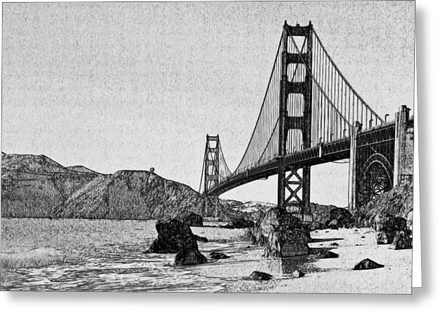 Live Art Greeting Cards - San Francisco Bridge 3 Greeting Card by Yury Malkov