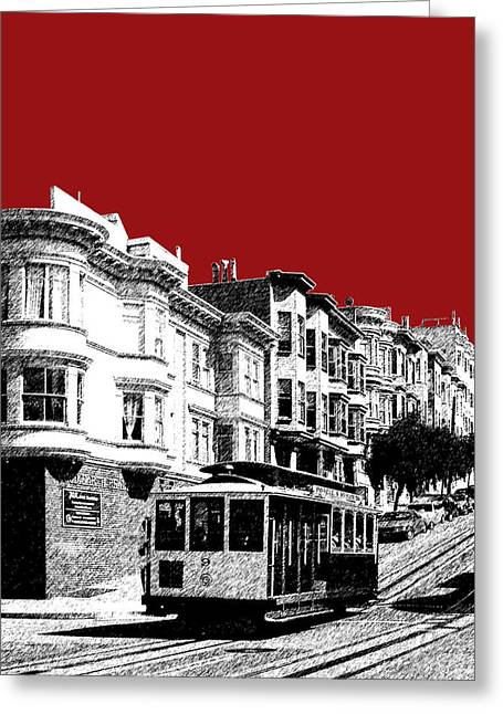 San Francisco Cable Car 2 - Dk Red Greeting Card by DB Artist
