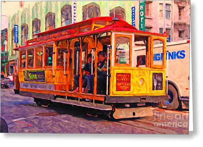 San Francisco Cable Car - Photo Artwork Greeting Card by Wingsdomain Art and Photography