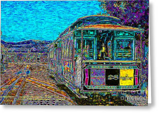 Beach Street Greeting Cards - San Francisco Cablecar - 7D14097 Greeting Card by Wingsdomain Art and Photography