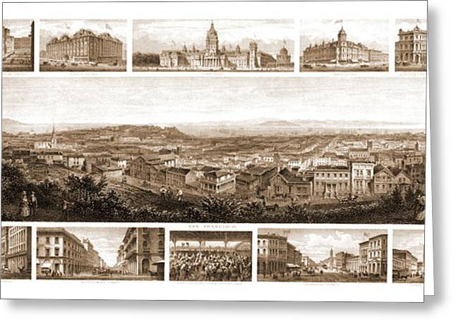 San Francisco California 1874 Greeting Card by Padre Art