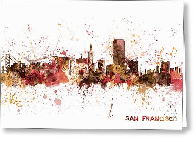 San Greeting Cards - San Francisco California City Skyline Greeting Card by Michael Tompsett