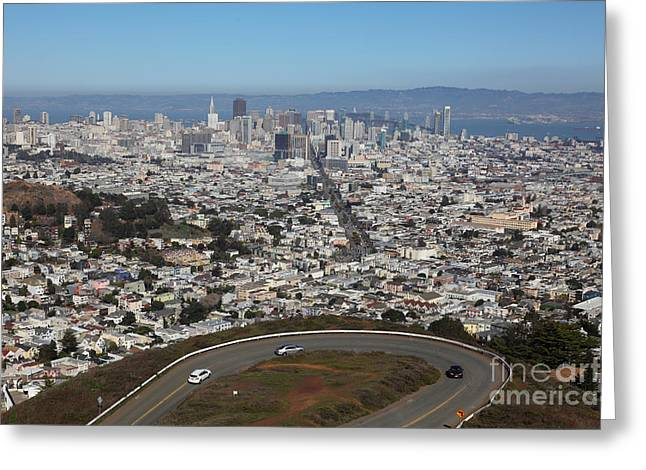 Sf Peaks Greeting Cards - San Francisco California From Twin Peaks 5D28034 Greeting Card by Wingsdomain Art and Photography