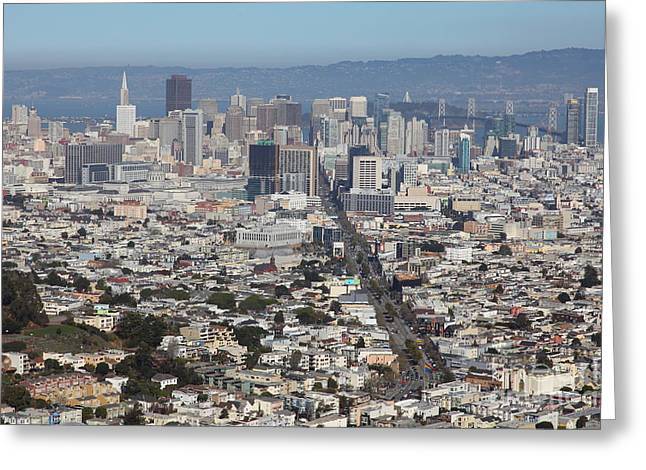 Sf Peaks Greeting Cards - San Francisco California From Twin Peaks 5D28036 Greeting Card by Wingsdomain Art and Photography