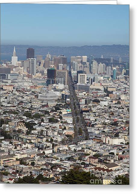 Sf Peaks Greeting Cards - San Francisco California From Twin Peaks 5D28037 Greeting Card by Wingsdomain Art and Photography
