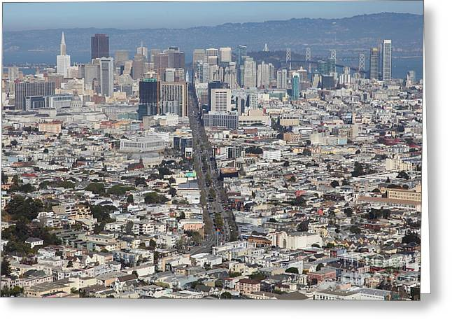 Sf Peaks Greeting Cards - San Francisco California From Twin Peaks 5D28040 Greeting Card by Wingsdomain Art and Photography