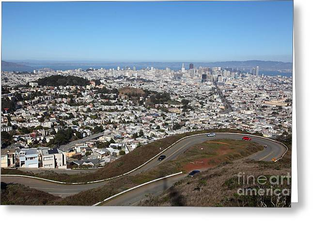 Downtown San Francisco Greeting Cards - San Francisco California From Twin Peaks 5D28053 Greeting Card by Wingsdomain Art and Photography