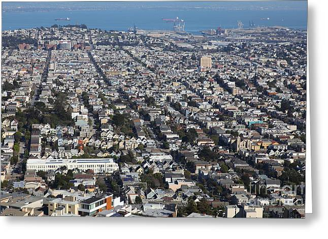 Sf Peaks Greeting Cards - San Francisco California From Twin Peaks 5D28072 Greeting Card by Wingsdomain Art and Photography