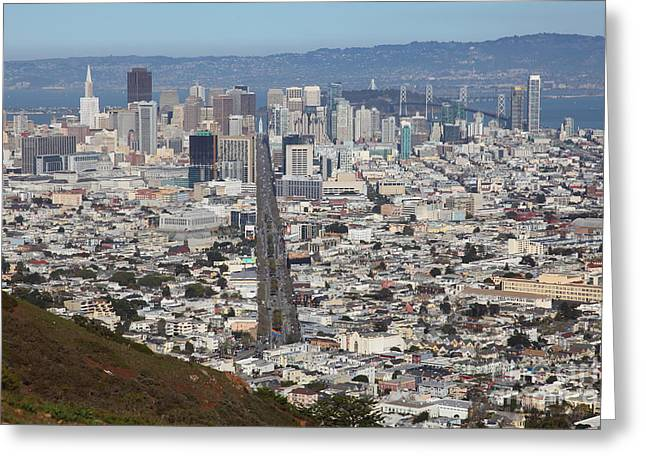 Downtown San Francisco Greeting Cards - San Francisco California From Twin Peaks 5D28073 Greeting Card by Wingsdomain Art and Photography