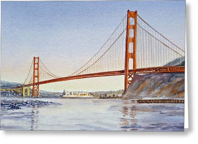 Touristic Greeting Cards - San Francisco California Golden Gate Bridge Greeting Card by Irina Sztukowski