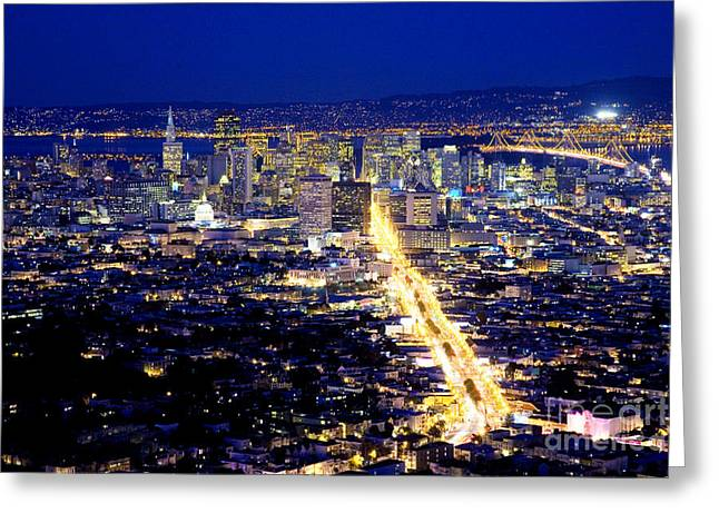Downtown San Francisco Greeting Cards - San Francisco California Nightshot Greeting Card by Bill Cobb