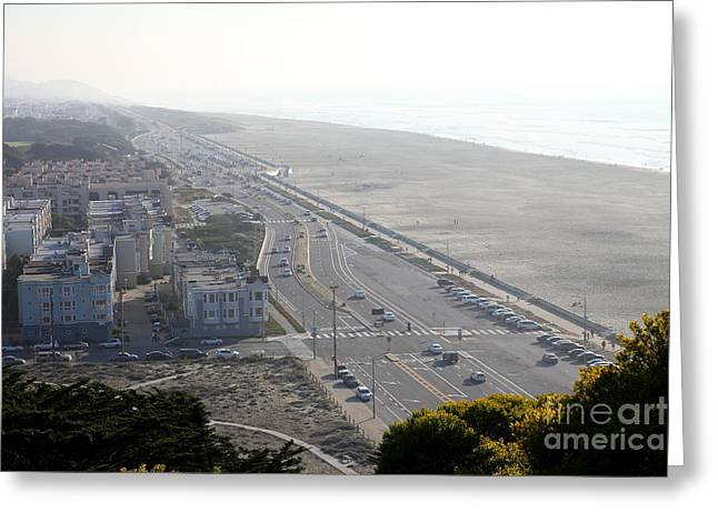 Foggy Beach Greeting Cards - San Francisco California Ocean Beach 5D27192 Greeting Card by Wingsdomain Art and Photography