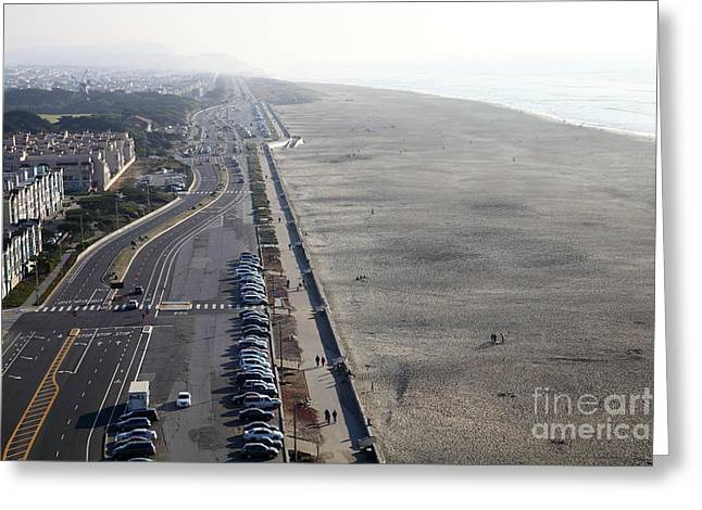 Foggy Beach Greeting Cards - San Francisco California Ocean Beach 5D27198 Greeting Card by Wingsdomain Art and Photography