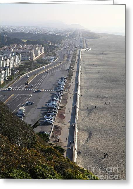 Foggy Beach Greeting Cards - San Francisco California Ocean Beach 5D27230 Greeting Card by Wingsdomain Art and Photography