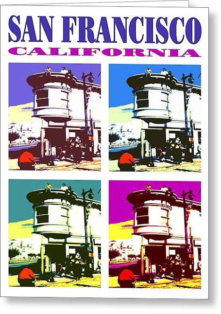 Best Seller Mixed Media Greeting Cards - San Francisco California - Pop Art Poster Greeting Card by Peter Fine Art Gallery  - Paintings Photos Digital Art
