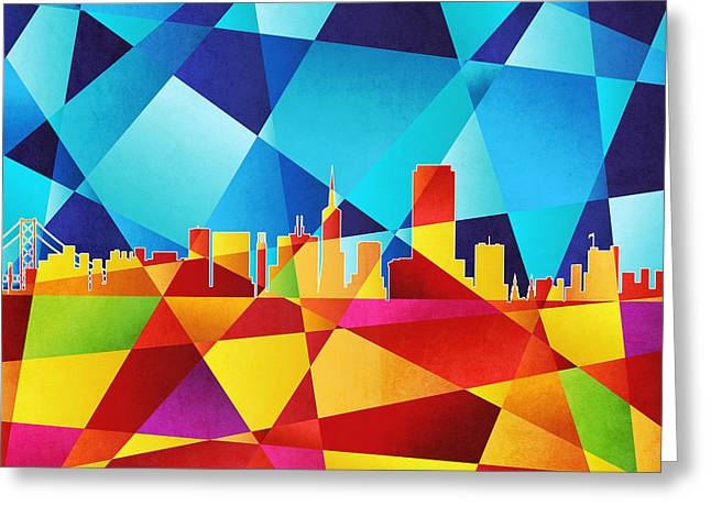 Abstract Geometric Digital Art Greeting Cards - San Francisco California Skyline Greeting Card by Michael Tompsett