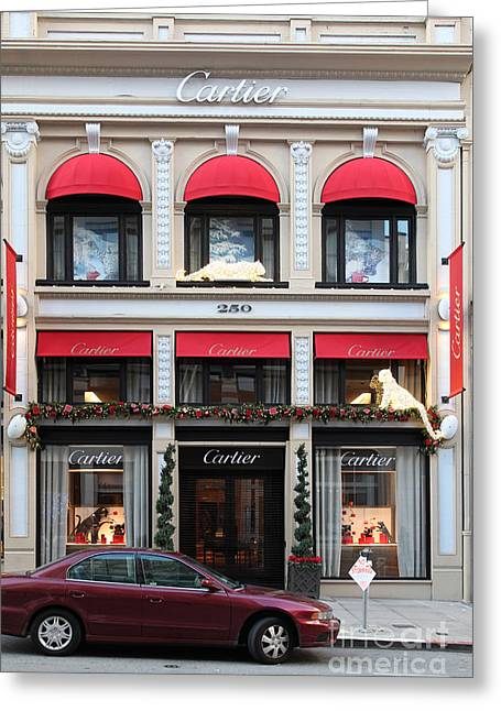 Department Stores Greeting Cards - San Francisco Cartier Storefront - 5D20567 Greeting Card by Wingsdomain Art and Photography