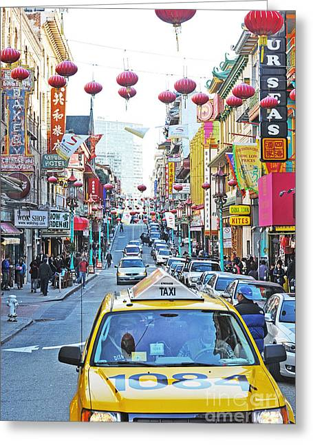 Yellow Greeting Cards - San Francisco Chinatown Greeting Card by Artist and Photographer Laura Wrede