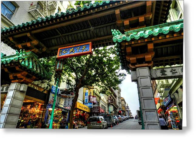 Downtown San Francisco Greeting Cards - San Francisco - Chinatown 012 Greeting Card by Lance Vaughn