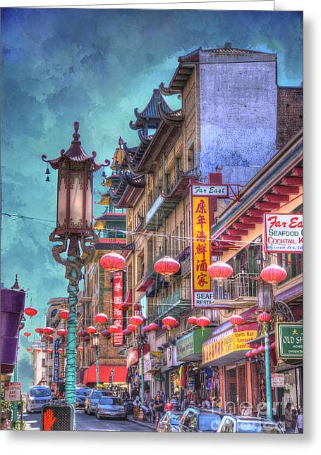 Manipulated Greeting Cards - San Francisco Chinatown Greeting Card by Juli Scalzi