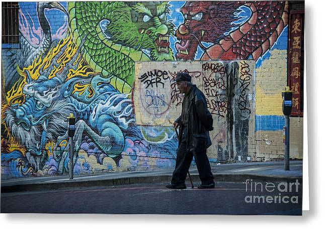 Graffiti Art Greeting Cards - San Francisco Chinatown Street Art Greeting Card by Juli Scalzi