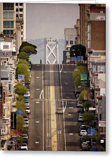 Bay Bridge Digital Greeting Cards - San Francisco circa 1980 Greeting Card by Eduard Moldoveanu