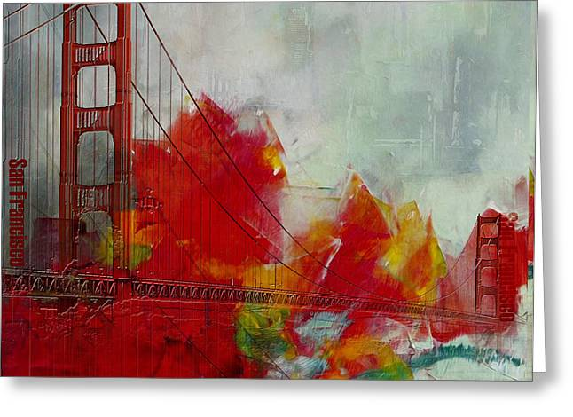 San Francisco City Collage Greeting Card by Corporate Art Task Force