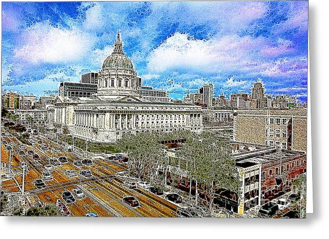 Civic Center Greeting Cards - San Francisco City Hall 5D22507 Photoart Greeting Card by Wingsdomain Art and Photography