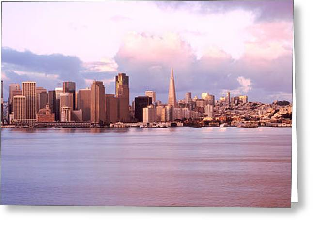 San Francisco Bay Greeting Cards - San Francisco City Skyline At Sunrise Greeting Card by Panoramic Images