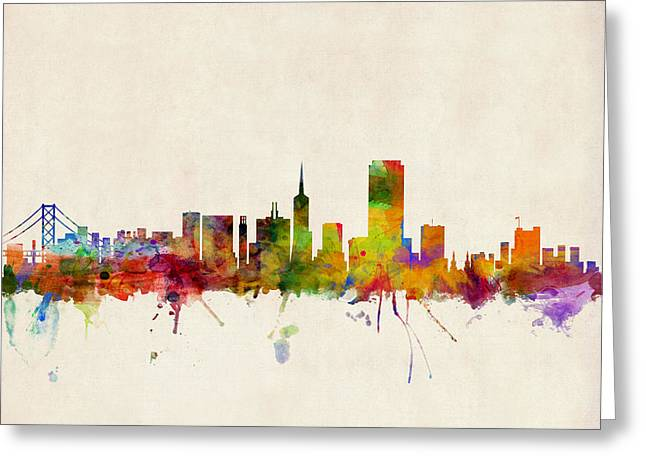 Posters Greeting Cards - San Francisco City Skyline Greeting Card by Michael Tompsett