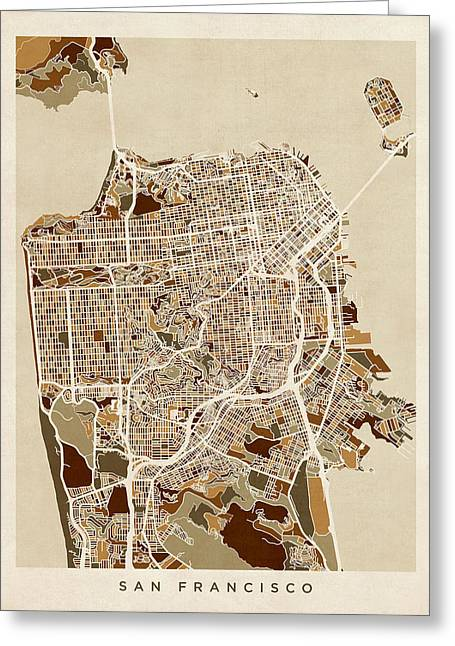 San Greeting Cards - San Francisco City Street Map Greeting Card by Michael Tompsett