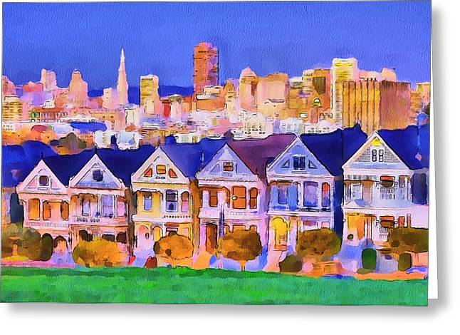 Live Art Greeting Cards - San Francisco City View 1 Greeting Card by Yury Malkov