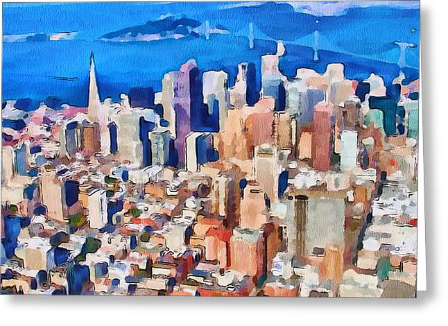 Live Art Greeting Cards - San Francisco City View 2 Greeting Card by Yury Malkov