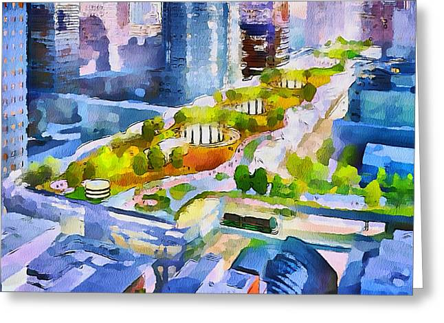 Live Art Greeting Cards - San Francisco City View 3 Greeting Card by Yury Malkov