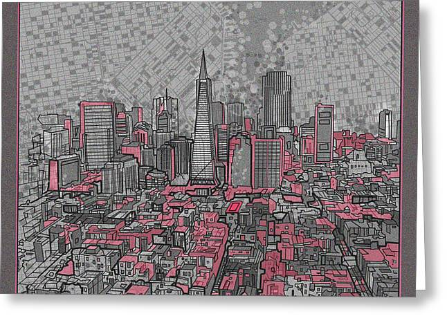 Pyramids Greeting Cards - San Francisco Cityscape 2 Greeting Card by MB Art factory