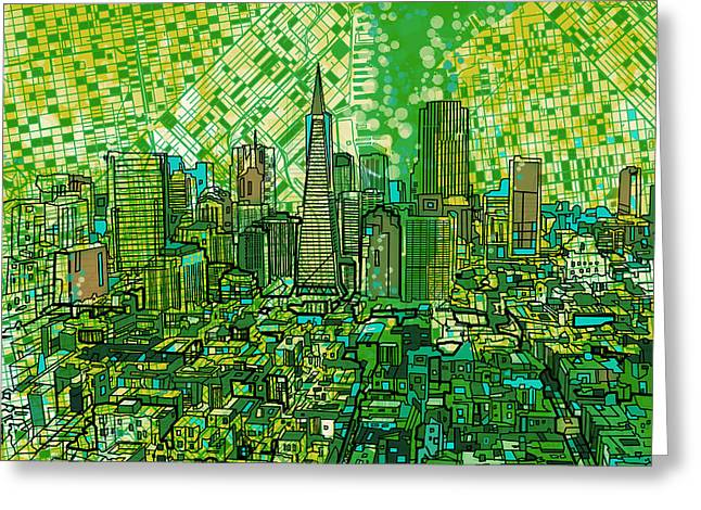 Pyramids Greeting Cards - San Francisco Cityscape 3 Greeting Card by MB Art factory