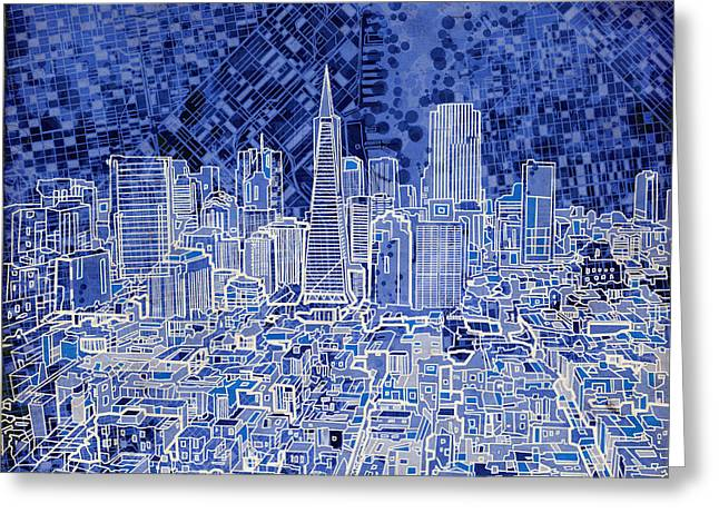 Pyramids Greeting Cards - San Francisco Cityscape 4 Greeting Card by MB Art factory